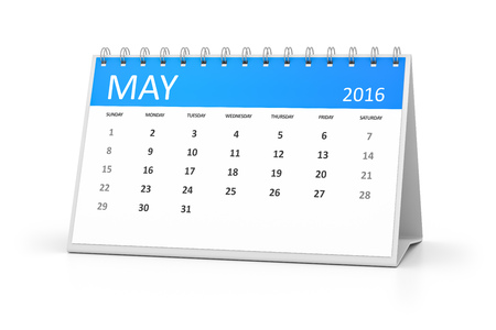 table calendar: A blue table calendar for your events 2016 may Stock Photo