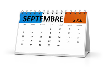 table calendar: A french language table calendar for your events 2016 september