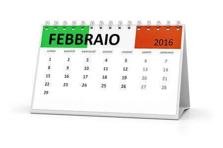 table calendar: An italian language table calendar for your events 2016 february