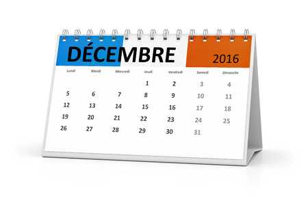 table calendar: A french language table calendar for your events 2016 december