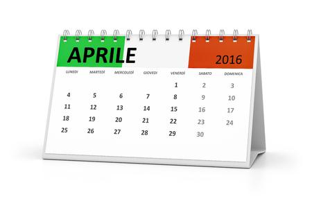 table calendar: An italian language table calendar for your events 2016 april