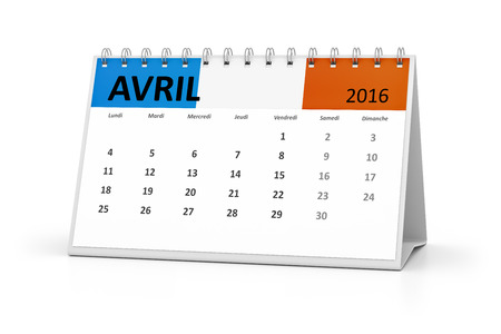 table calendar: A french language table calendar for your events 2016 april Stock Photo
