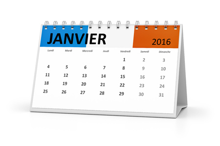 table calendar: A french language table calendar for your events 2016 january