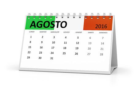 table calendar: An italian language table calendar for your events 2016 august