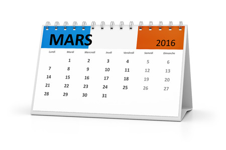 table calendar: A french language table calendar for your events 2016 march