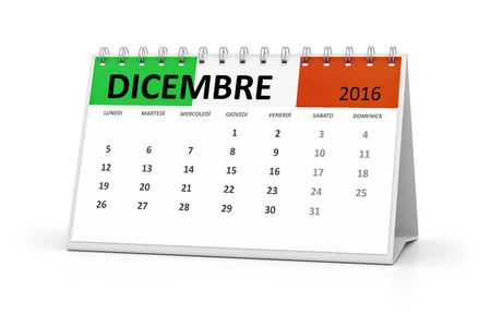 table calendar: An italian language table calendar for your events 2016 december