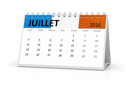 table calendar: A french language table calendar for your events 2016 july Stock Photo
