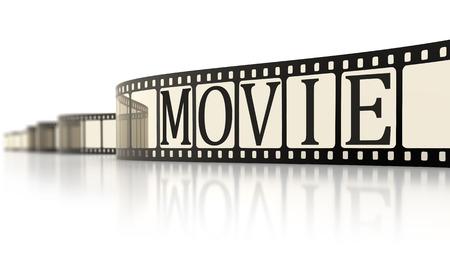 cinta pelicula: Una imagen de una tira de película de época con la palabra película Foto de archivo