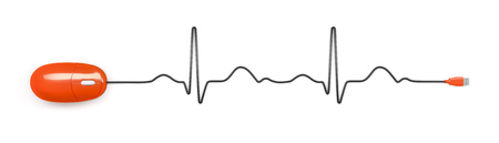 PULSE: An image of an electrocardiogram with a computer mouse Stock Photo
