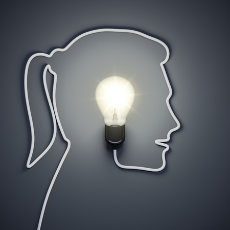 lamp: 3d rendering of a light bulb inside a female head Stock Photo