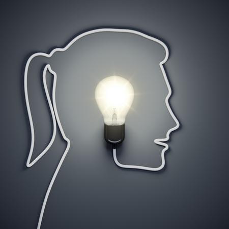 lampada: Rendering 3D di una lampadina all'interno di una testa femminile