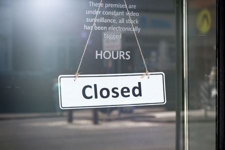 open sign: An image of a closed sign at the shop door Stock Photo