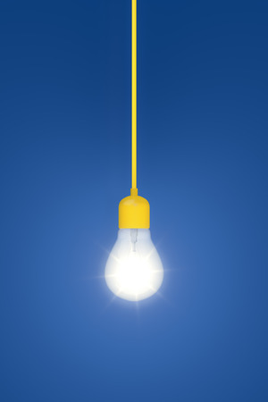 economical: 3d rendering of a light bulb on a blue background