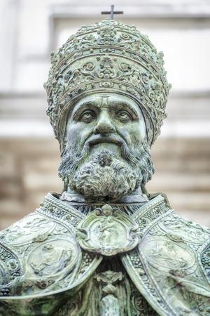 marche: An image of a statue of Pope Sixtus V in front of the Basilica della Santa Casa in Italy Marche Stock Photo