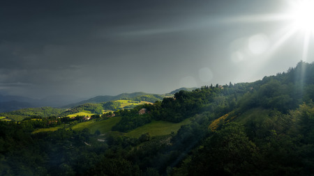 dark skies: An image of bad weather landscape at Urbino Italy