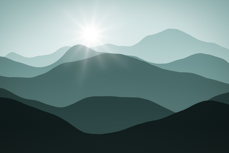 horizons: An abstract simple landscape background graphic with sun