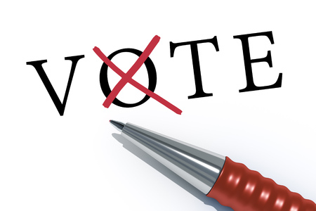 business focus: An image of a red pen with the message vote