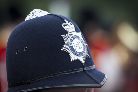 An image of a hat of a police man in London