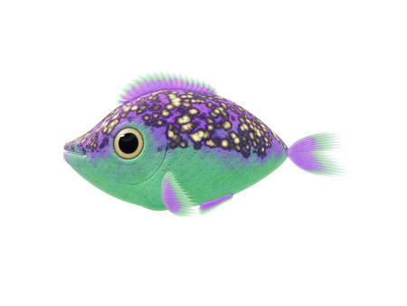 green fish: 2D illustration cartoon of a cute purple green fish