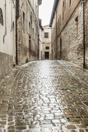 hdri: An image of a typical italian city street at rain Stock Photo