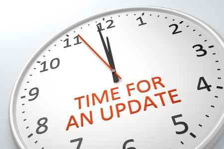 time account: 3D rendering of a nice clock with text time for an update Stock Photo