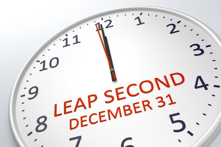 leap: 3d rendering of a clock showing leap second at december 31
