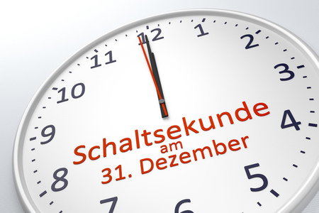 timekeeping: 3d rendering of a clock showing leap second at december 31 in german language Stock Photo