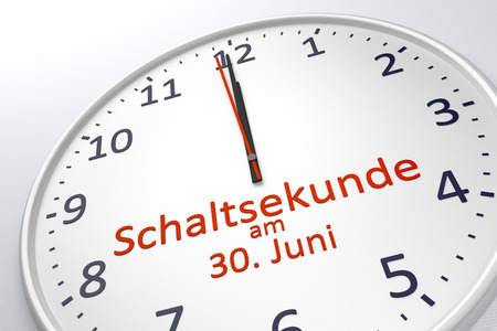scheduling system: 3d rendering of a clock showing leap second at june 30 in german language