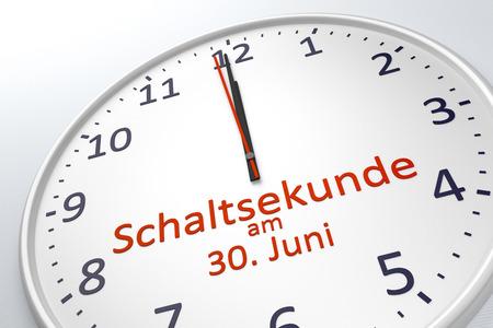 timekeeping: 3d rendering of a clock showing leap second at june 30 in german language