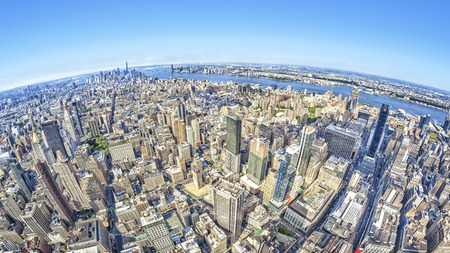 hdri: A wide angle image of a New York Manhattan