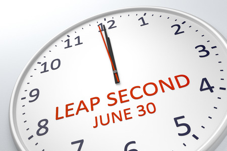 o'clock: 3d rendering of a clock showing leap second at june 30