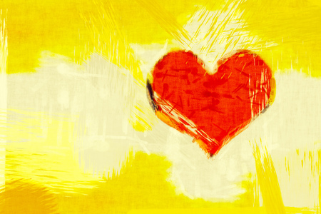 heart background: 2D illustration of a yellow grunge background with a red heart