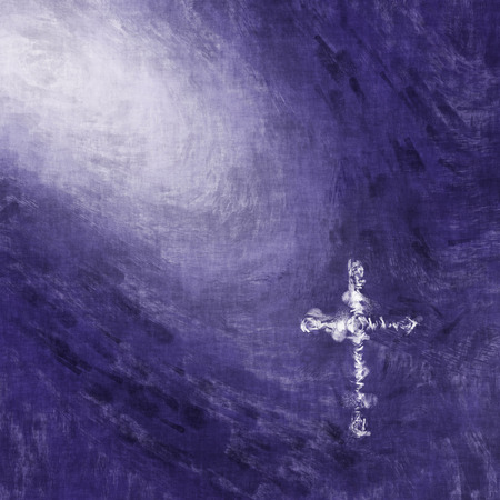 background purple: 2d illustration of a white painted cross