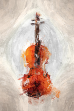 four chambers: 2D illustration of a grunge painted violine