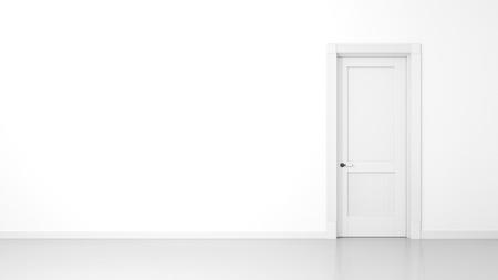 Il rendering 3D di un muro bianco e una porta in un piatto vuoto con lo spazio per il tuo contenuto Archivio Fotografico