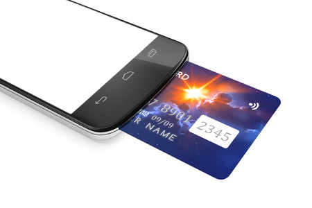 graphic display cards: 3d rendering of a smartphone and a credit card for mobile payment