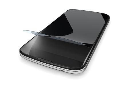 proteccion: representación 3D de un smartphone con una película de protección Foto de archivo