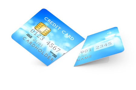 expired: 3d rendering of an expired cut credit card Stock Photo