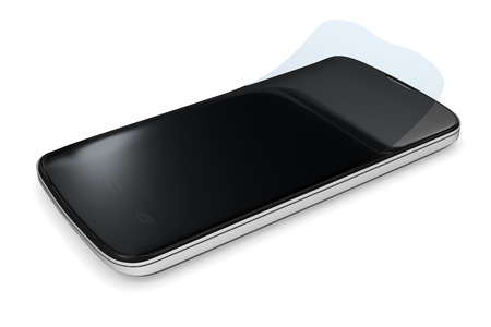 protector: 3d rendering of a smartphone with a protection film
