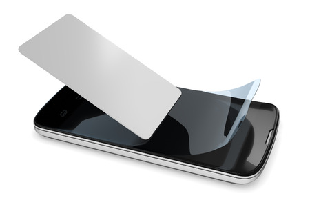 protective: 3d rendering of preparing a smartphone with a protection film