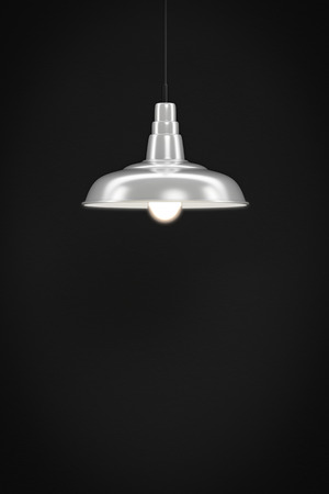 bulp: 3d rendering of a white lamp in front of a dark wall with space for your content Stock Photo
