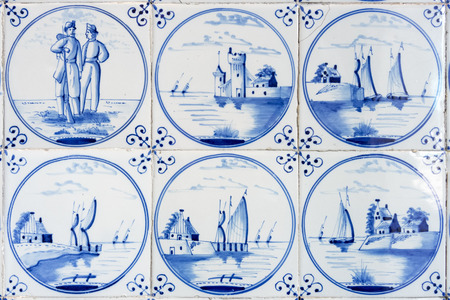 An image of six typical blue delft tiles Stock Photo - 61030117