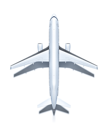 airplane: 3d rendering of an airplane from above isolated on white