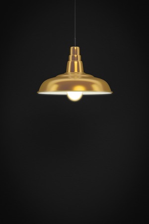 bulp: 3d rendering of a golden lamp in front of a dark wall with space for your content