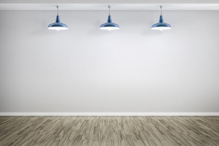 lampada: Rendering 3D di una stanza con tre lampade Archivio Fotografico