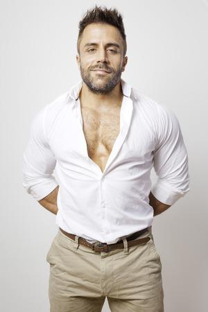 man shirt: An image of a bearded man open shirt