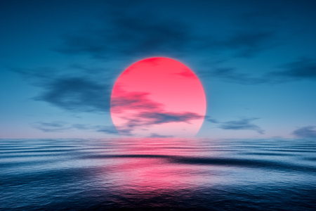 red sunset: 3d rendering of a red sunset over the blue sea Stock Photo