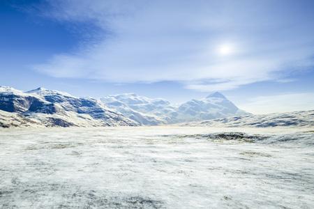 winter scenery: 3d rendering of a fantasy winter scenery