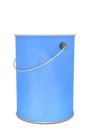 steel construction: 3d rendering of a blue paint bucket isolated on white