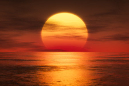 sun down: 3d rendering of a sunset over the sea
